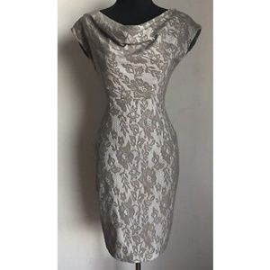 MAGGY LONDON sz 2P taupe lace wiggle career dress